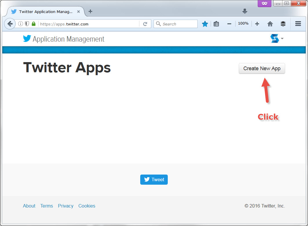 Browse Twitter application manager